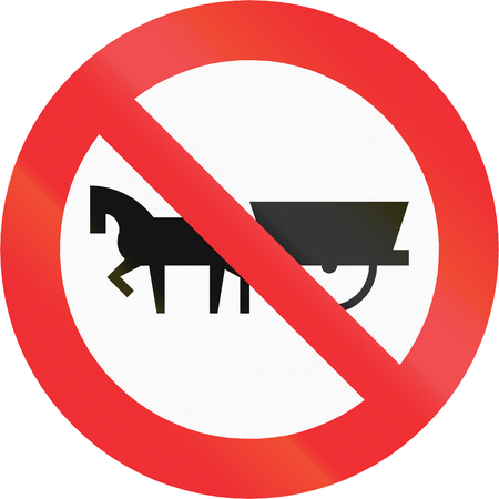 horse drawn: Chilean sign prohibiting thoroughfare of horse drawn carriages.