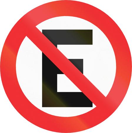 carriageway: Chilean traffic sign: No parking along carriageway. Stock Photo
