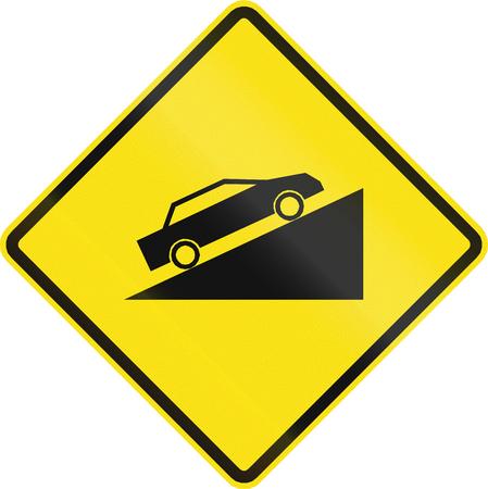 en mont�e: Chilienne panneau d'avertissement de route: pente ascendante Steep