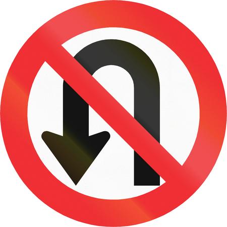 red handed: Chilean regulatory sign - no U-turn. Stock Photo