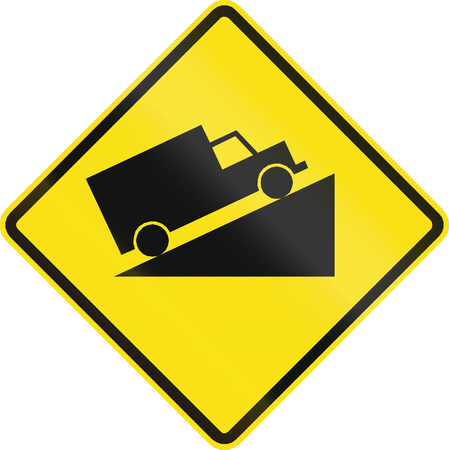 steep: Chilean road warning sign: Steep uphill grade Stock Photo