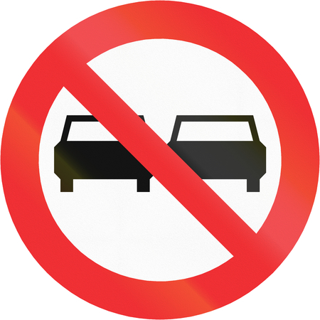 Chilean traffic sign: No overtaking! photo