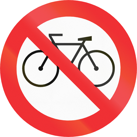 thoroughfare: Chilean traffic sign prohibiting thoroughfare of bicyles.