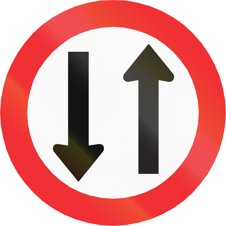 opposing: Regulatory road sign in Chile: Opposing traffic