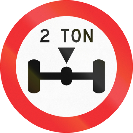 axle: Chilean traffic sign prohibiting throroughfare of vehicles with a load over 2 tons on each axle. Stock Photo