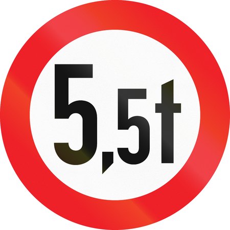 metric: Austrian traffic sign prohibiting throroughfare of vehicles with a weight over 5.5 metric tons. Stock Photo