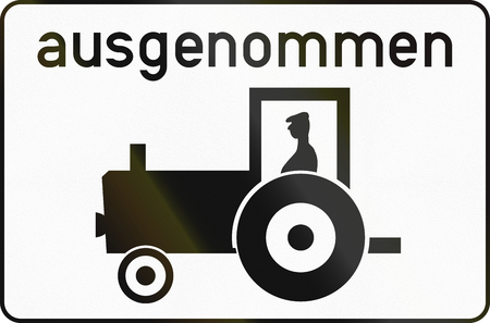 additional: Austrian traffic sign additional panel to specify the meaning of other signs: Except tractors. Stock Photo