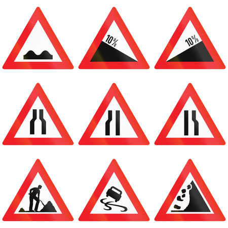 road conditions: Collection of Austrian Warning signs about road conditions, slope and road works.