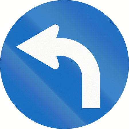 turn left: Austrian traffic sign: Turn left ahead