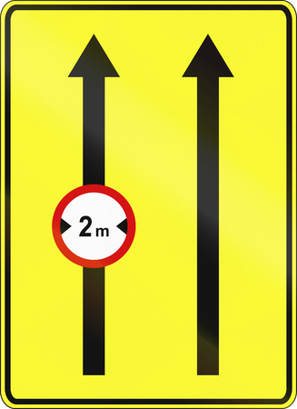 width: Polish traffic sign: Width limit on left lane.