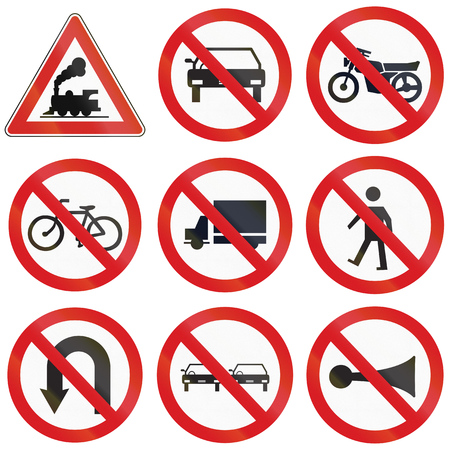 honking: Collection of Argentinian prohibition signs and railway warning.