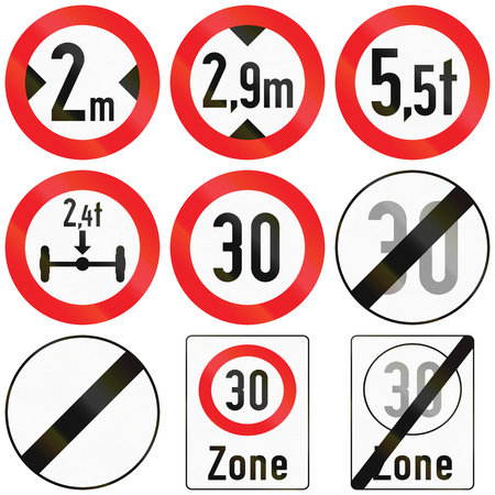 defining: Collection of Austrian traffic signs defining size, weight and speed limits. Stock Photo