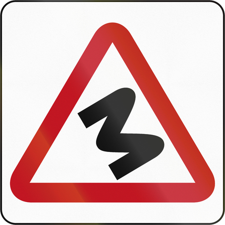red handed: Road sign in Brunei: Series Of Bends To Left