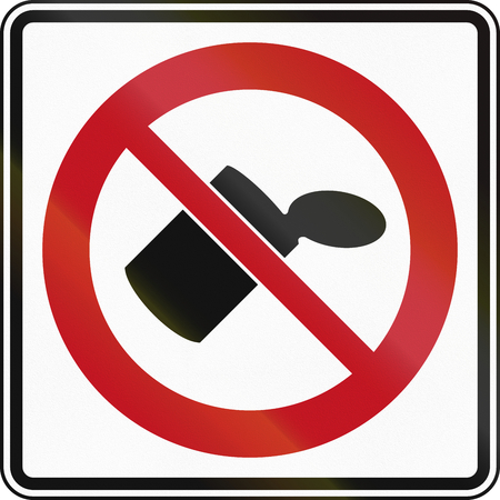 littering: Littering prohibited road sign in Canada.