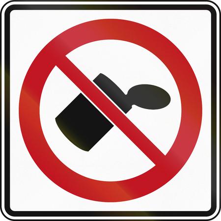 tirar basura: Tirar basura prohibido se�al de tr�fico en Canad�.