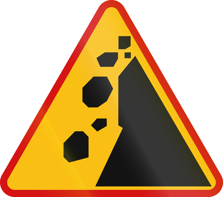 Polish sign warning about falling rocks from the right. Stock Photo