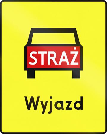 emergency vehicle: Polish road sign: Emergency vehicle exit. Wyjazd means exit Stock Photo