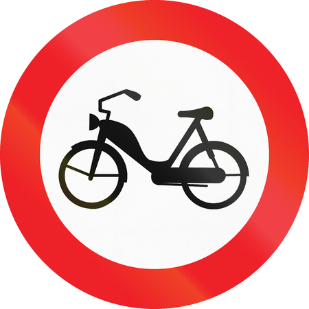 image date: Austrian traffic sign prohibiting thoroughfare of mopeds. Stock Photo