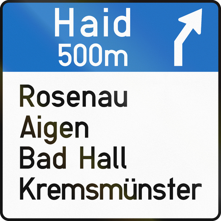 right handed: Austrian information sign 15ab - direction sign on motorway or expressway.
