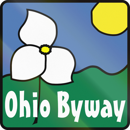 byway: Scenic byway shield in Ohio, USA, showing the state flower of Ohio, the white trillium (Trillium grandiflorum). Stock Photo