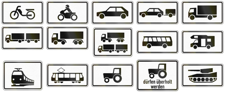 supplementary: Collection of German supplementary road signs regarding specific vehicle types.