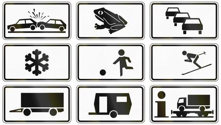 rectángulo: Colección de varios alemanes signos complementarios: Accidentes viales, anfibios, colas de tráfico, heladas, niños jugando, esquí, remolque, motorail para los camiones. Foto de archivo
