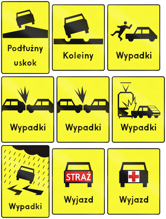 Collection of additional Polish road warning signs: Uneven road, ruts, different kinds of accidents, slip danger, emergency vehicle exit. photo