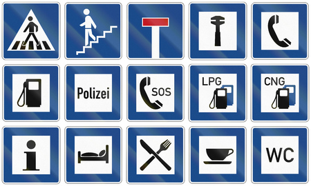 informational: Collection of various informational road signs in Germany.