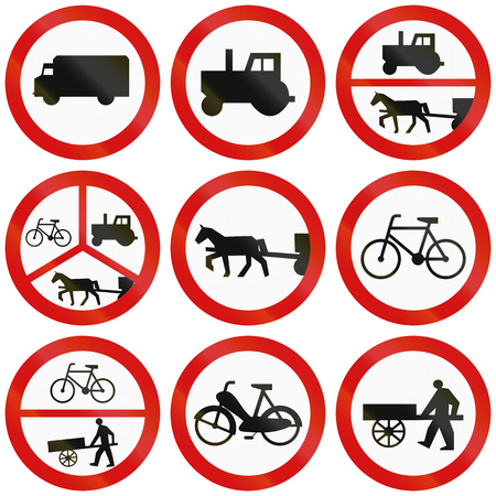 thoroughfare: Collection of Polish traffic signs prohibiting thoroughfare for various big or slow vehicles. Stock Photo