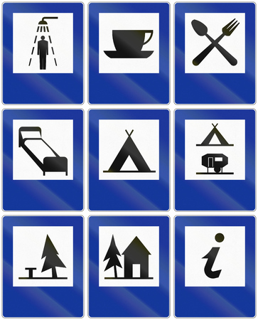 informational: Collection of informational road signs in Poland.