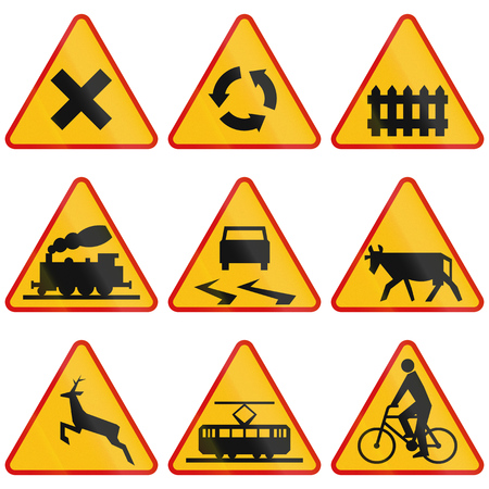 crossings: Collection of Polish warning signs regarding intersections and crossings.