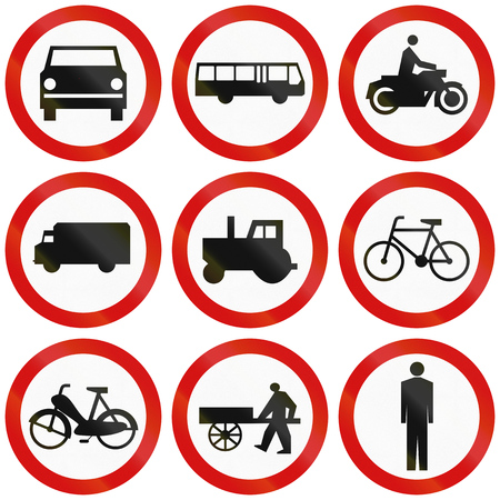 thoroughfare: Collection of Polish traffic signs prohibiting thoroughfare for various vehicles or pedestrians.