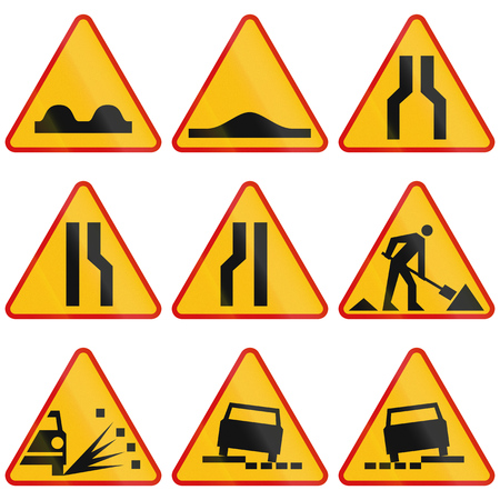 Collection of Polish warning signs regarding road conditions and road works.