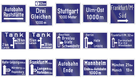 direction signs: Collection of historic direction signs on highways in Germany.