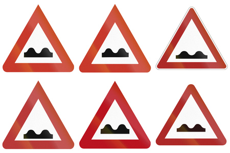 Collection of historic and modern (bottom right) uneven road warning signs in Germany.