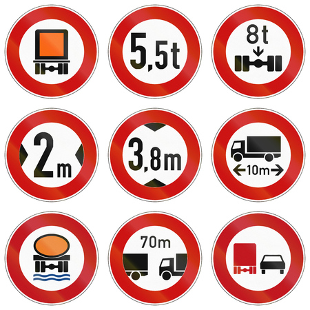 goods: Collection of traffic signs about restrictions for lorry weight and size or dangerous goods.