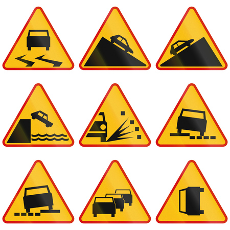 road conditions: Collection of Polish warning signs regarding road conditions, slopes and accidents. Stock Photo