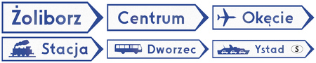 bus station: Collection of direction signs to local places in Poland. Stacja means station, Dworzec means bus station. Stock Photo