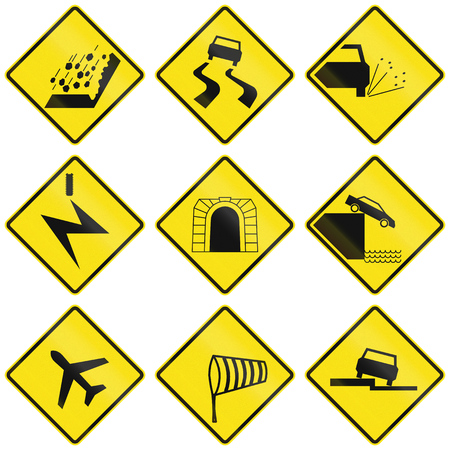 road conditions: Miscellaneous warning signs in Chile, including falling rocks, road conditions, tunnel, wind and air traffic. Stock Photo