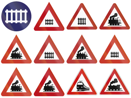 guarded: Collection of historic and modern (bottom right) guarded and unguarded level crossing warning signs in Germany.