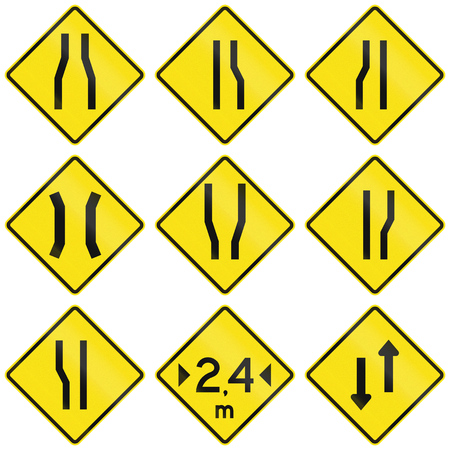 one lane road sign: Collection of narrow road signs in Chile.