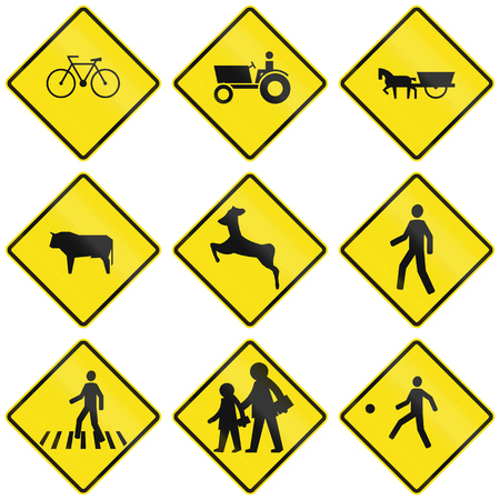 tractor warning sign: Collection of crossing warning signs in Chile.