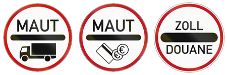 toll: German traffic signs at toll station and roads with charge. Zoll and Duane mean toll, Maut means road charge. Stock Photo