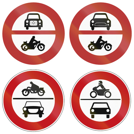 motor vehicle: Collection of historic and modern (bottom right) no motor vehicle signs in Germany. Stock Photo