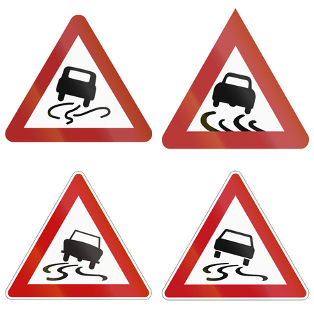 mud slide: Collection of historic and modern (bottom right) slip danger road warning signs in Germany.