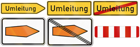 german mark: German detour road signs used to show recommended routes and mark barriers. Umleitung means detour.
