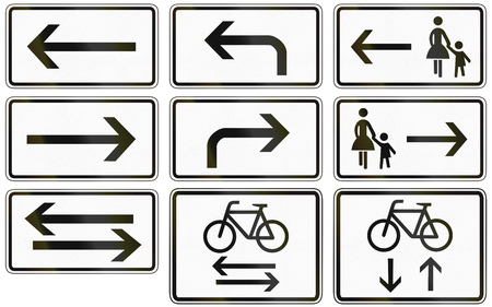 mother in law: Collection of German supplementary road signs regarding directions and position of foot and bike paths.