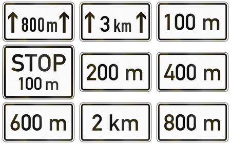 supplementary: Collection of German supplementary road signs regarding distances.