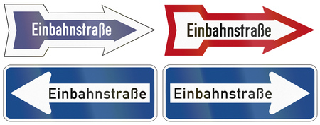 left handed: Collection of historic and modern (bottom right) one way road signs in Germany.