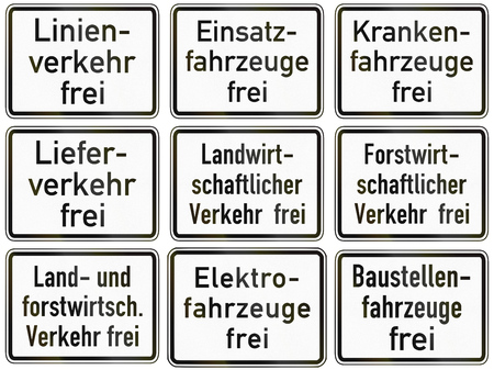 exceptions: Collection of German supplementary road signs regarding exceptions from restrictions for different vehicles. Frei means allowed.